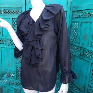 Rafaella Black sheer Ruffled Blouse  Sheer  Size 6